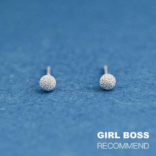 |純銀|希臘小雪球.銀針耳環