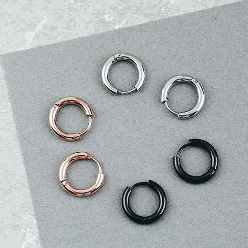 小小魔力圈,簡約,圈圈耳環,銀色,玫瑰金,黑色