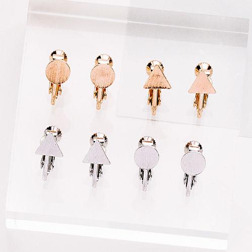 幾何髮絲紋 夾式耳環