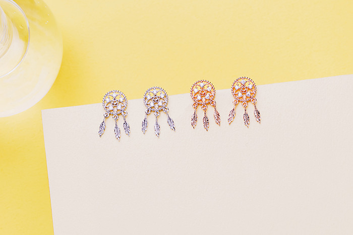 閃耀的捕夢網.銀針耳環