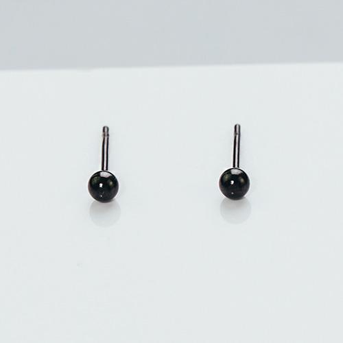 簡約小黑珠 純鋼耳環