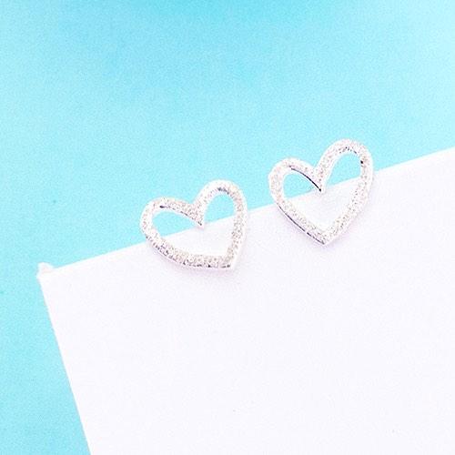 |純銀|冰霜之心.銀針耳環