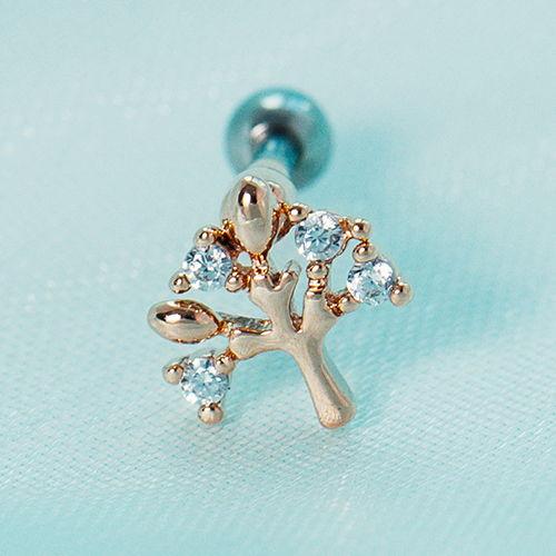 玫瑰色小樹 單支.耳環