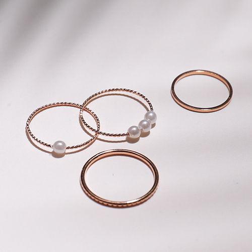 玫瑰色珍珠 戒指組合