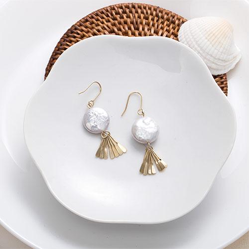 貝殼寶藏.耳環/耳夾,珍珠,金屬感,海邊,夏天,海洋