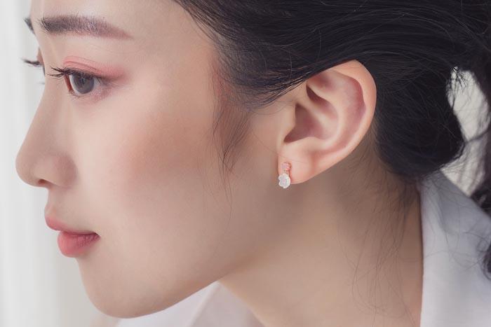 花之戀.銀針耳環