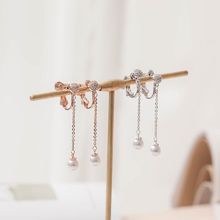 垂墜珍珠.銀針耳環